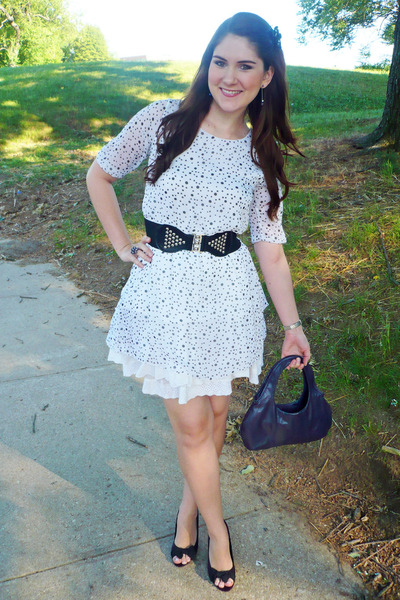Black And White Dress With Purple Heels
