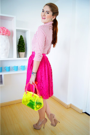 hot pink lace skirt Forever 21 skirt - white Lacoste shirt