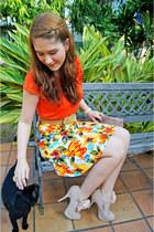 white floral skirt Available skirt - camel clutch asos bag