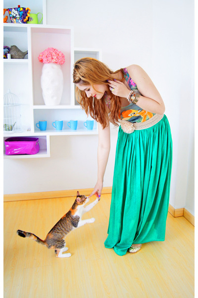 green maxi skirt Zara skirt - chartreuse bambi tanktop Forever 21 top