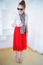 navy striped scarf Zara scarf - red strapless dress Forever 21 dress