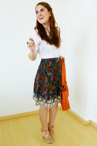 dark brown floral skirt skirt - dark brown belt - white Da-Moda top