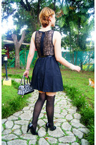 black lace dress Sugarlips dress - black scallop tights Topshop tights