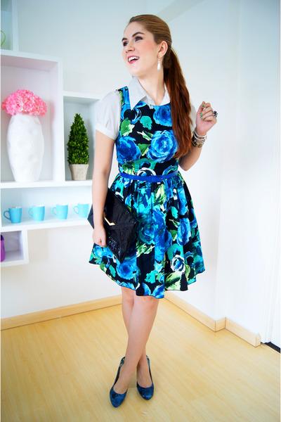 blue floral dress Kocal dress - white Da-Moda shirt - black clutch asos bag