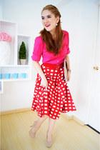 eggshell pumps Qupid heels - eggshell clutch asos bag - red gingham asos skirt
