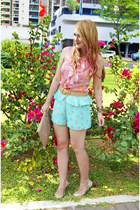 aquamarine ice cream print Forever 21 shorts - tan clutch asos bag