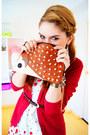 White-apple-print-dress-tawny-hedgehog-clutch-asos-bag