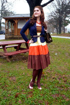 yellow Sweet dress - blue Forever 21 jacket - brown merona tights - brown LEI sh