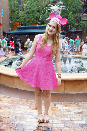 hot pink lace dress Aeropostale dress - beige mary janes Mel by Melissa flats