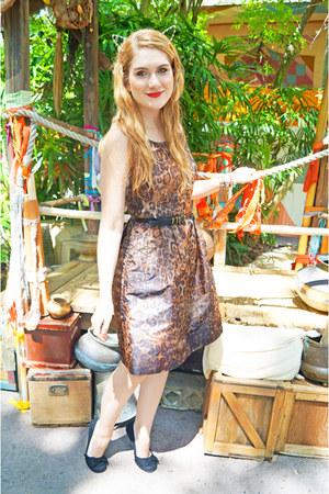 brown leopard print Michael Kors dress - black ballerina Payless flats