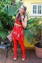 burnt orange floral dress Forever 21 dress - burnt orange asos tights