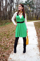 green Da-Moda dress - white poof excellence top - black Skechers boots - yellow