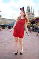red Forever 21 dress - black ballerina flats Payless flats