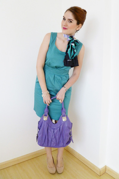black silk scarf nicole miller scarf - sky blue Mossimo dress - amethyst bag
