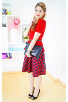red peplum top Forever 21 top - black clutch asos bag - red checkered skirt