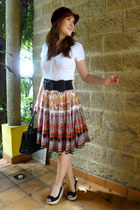 bronze ethnic print Available skirt - brick red SCALA hat