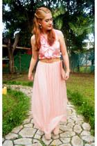 light pink maxi skirt Forever 21 skirt - eggshell clutch asos bag