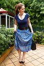 Blue-maxi-skirt-zara-shirt-black-liz-claiborne-purse