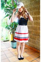 white strapless dress dress - black ballerina flats Payless flats