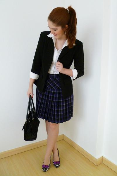 purple plaid Dazz skirt - black Courtenay blazer - black liz claiborne purse