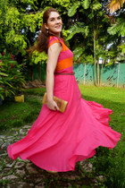 eggshell white bow Amanda Smith heels - carrot orange isaac mizrahi dress
