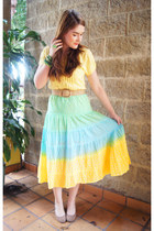 sky blue Skooji skirt - nude Forever 21 belt - yellow Antilia Femme top