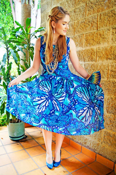 blue dress - blue beaded clutch Forever 21 bag