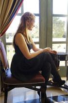 black Forever 21 boots - black a-line dress Zara dress