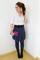 navy polka dot skirt Forever21 skirt - magenta clutch bag - white Da-Moda top