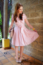 light pink a-shape dress Jessica Howard dress - camel clutch asos bag