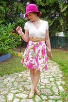 hot pink pink cloche hat - white floral dress dress - camel clutch asos bag