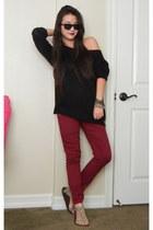 black sweater Forever 21 sweater - crimson skinny jeans Forever 21 pants