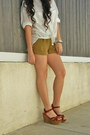 White-rayon-violetboutique-blouse-olive-green-rayon-urban-outfitters-shorts