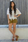 Olive-green-rayon-urban-outfitters-shorts-white-rayon-violetboutique-blouse