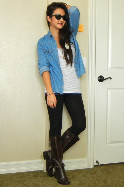 White Tank Top Forever 21 Tops, Dark Brown Riding Boots Easy ...
