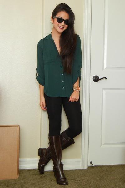 dark green button up blouse - dark brown Easy Spirit boots