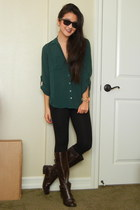 dark green button up blouse - dark brown Easy Spirit boots
