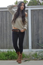 knit H&M sweater - jeggings American Eagle jeans