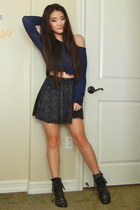 black cotton Forever 21 skirt - navy knit Forever 21 sweater