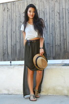 tan straw hat unknown brand hat - off white cotton cotton on t-shirt