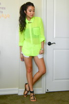 lime green chiffon neon PacSun blouse - white denim shorts Forever 21 shorts