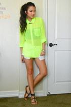 lime green chiffon neon PacSun blouse - white denim shorts Forever 21 shorts