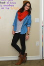 Brown-beanie-knit-cotton-on-hat-sky-blue-denim-forever-21-shirt