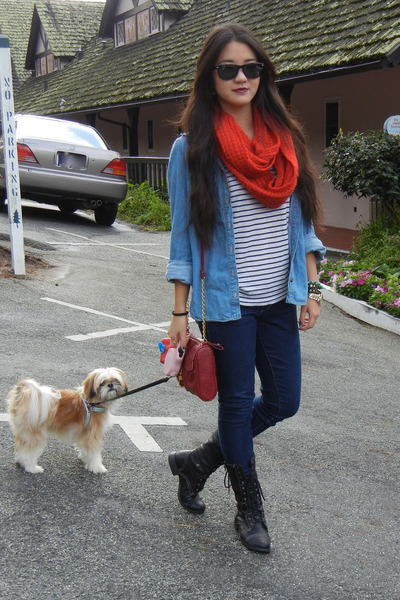 red infinity scarf cotton on scarf - denim shirt Forever 21 shirt