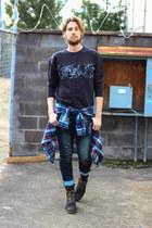 H&M sweatshirt - j shoes boots - Paul Rizk jeans - plaid J Crew shirt