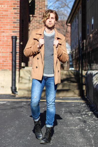 21MEN coat - Steve Madden boots - Zara jeans - H&M sweater