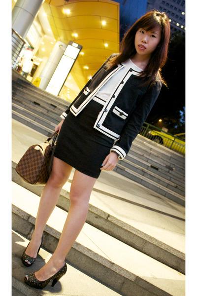 Brown Louis Vuitton Bags, Blue Zara Suits, Black Zara Heels, White