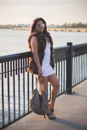 brown furry vest Zara vest - ivory Bebe dress - silver Michael Kors bag