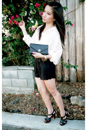 H&M blouse - tory burch bag - lucca couture shorts