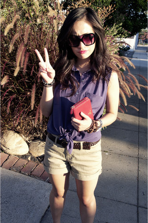 Forever 21 blouse - Forever 21 shorts - Forever 21 sunglasses